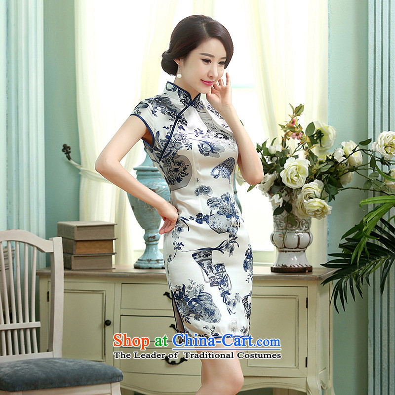 Floor is a new summer of floor dresses porcelain short-sleeved stretch of Sau San Satin Silk Dresses retro Silk Cheongsam picture color bilevel?S