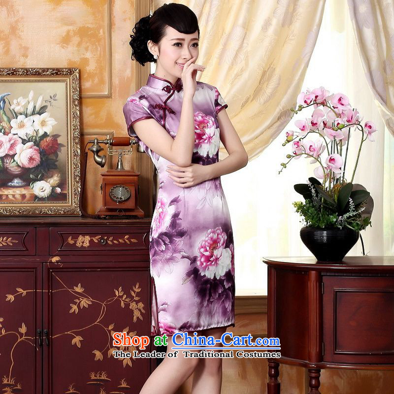 Yet the new floor floor summer dresses autumn colors pure silk positioning of Mudan Elastic satin poster short qipao Tang dynasty picture color M