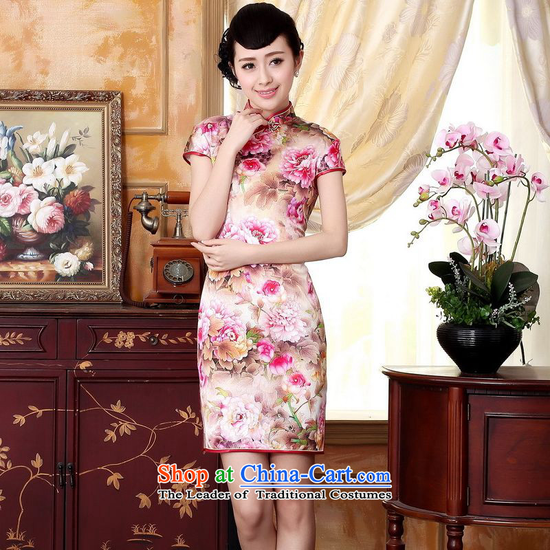 Yet the new floor floor summer dresses autumn colors pure silk positioning of Mudan Elastic satin poster short qipao Tang dynasty picture color?S