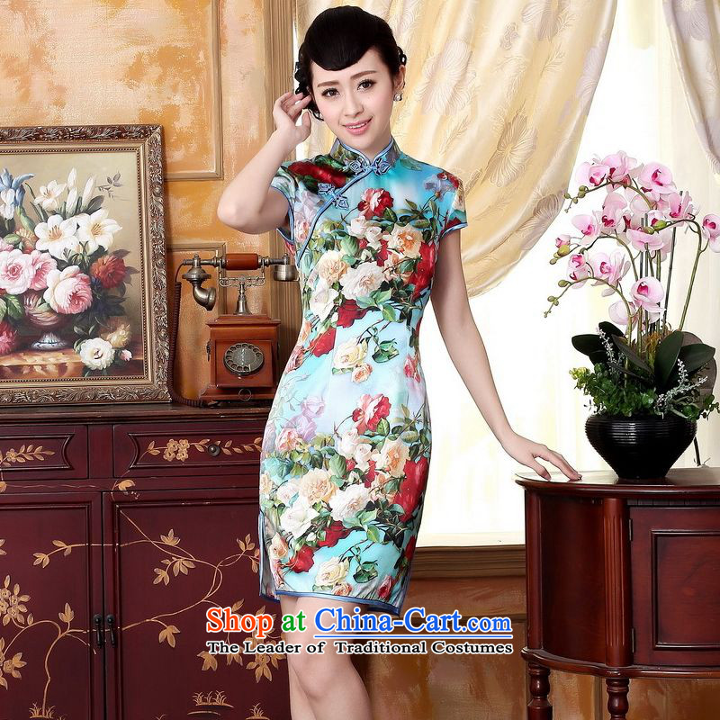 Floor is a new summer of floor dresses Tang dynasty silk Retro classic Silk Satin Poster elastic Sau San double short qipao picture color聽L