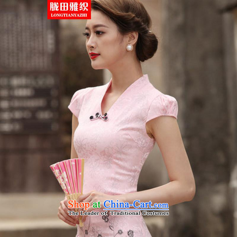 Measures, weaving and Stylish retro short qipao 2015 Summer improved cheongsam dress cheongsam dress pink daily president燬