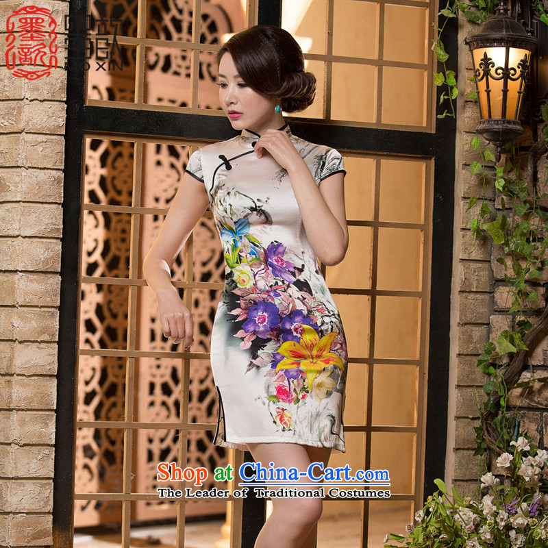 The ink on the basis of silk covered by 姝� qipao retro style qipao Ms. improved day-to-day cheongsam dress summer Sau San聽SZ S2231 2XL