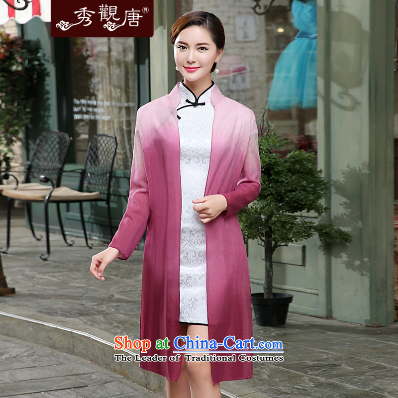 -Sau Kwun Tong- 2015 Autumn Load New Noye, gradients thin coat Tang dynasty cheongsam with floral XXL