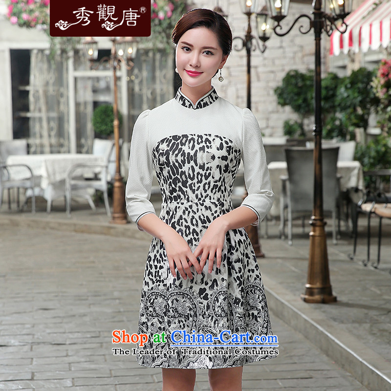 [Sau Kwun Tong] Cosmo 2015 Autumn new stylish wave point stamp Top Loin cheongsam dress Black and White?XXL