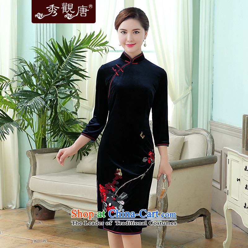 -Sau Kwun Tong- flower fragrance fall 2015 Butterfly exquisite embroidery upscale Korea qipao dark blue velvet XL