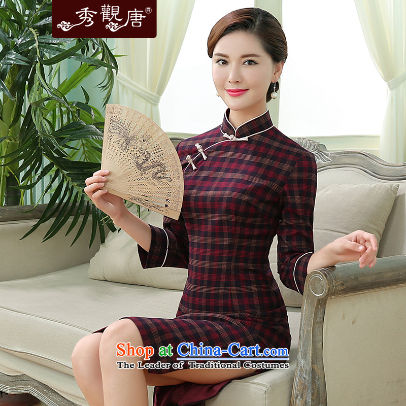 -Sau Kwun Tong- Constitution fall 2015 a new song, the Republic of Korea under the coffered minimalist retro temperament qipao dark red L