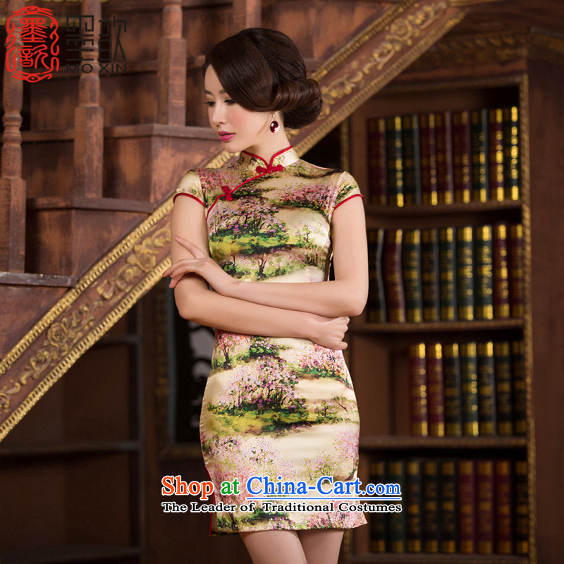 The concept of Ruth�15 ? silk cheongsam dress summer short qipao improved retro style qipao Sau San female dresses燬Z S2238 3XL
