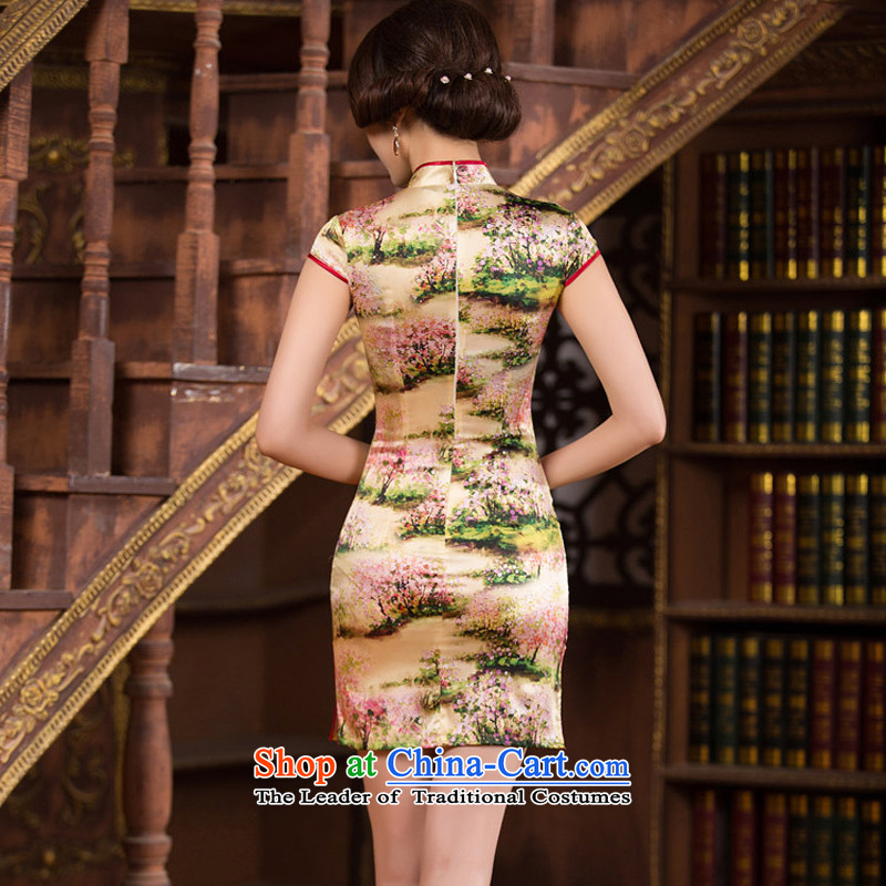 The concept of Ruth 2015 歆 silk cheongsam dress summer short qipao improved retro style qipao Sau San female dresses SZ S2238 3XL, 歆 ink (MOXIN) , , , shopping on the Internet