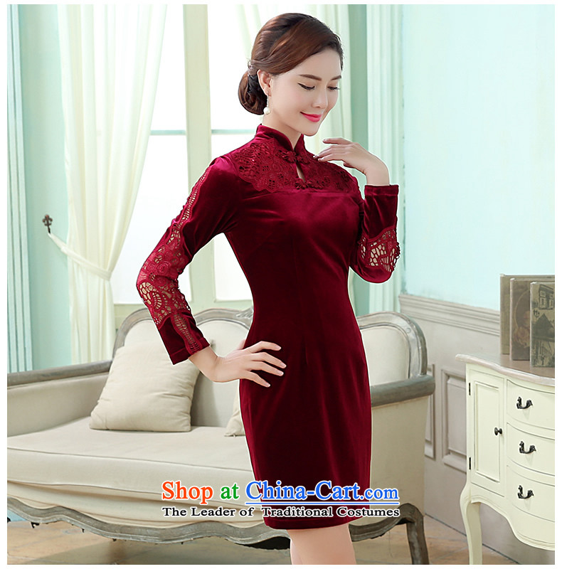 [Sau Kwun Tong] deplores the Yat Chu New) 2015 Antique Flower stylish Korea-hook qipao wine red聽XXL picture, prices, brand platters! The elections are supplied in the national character of distribution, so action, buy now enjoy more preferential! As soon as possible.
