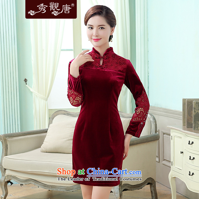 -Sau Kwun Tong- deplores the Yat Chu New_ 2015 Antique Flower stylish Korea-hook qipao wine red聽XXL