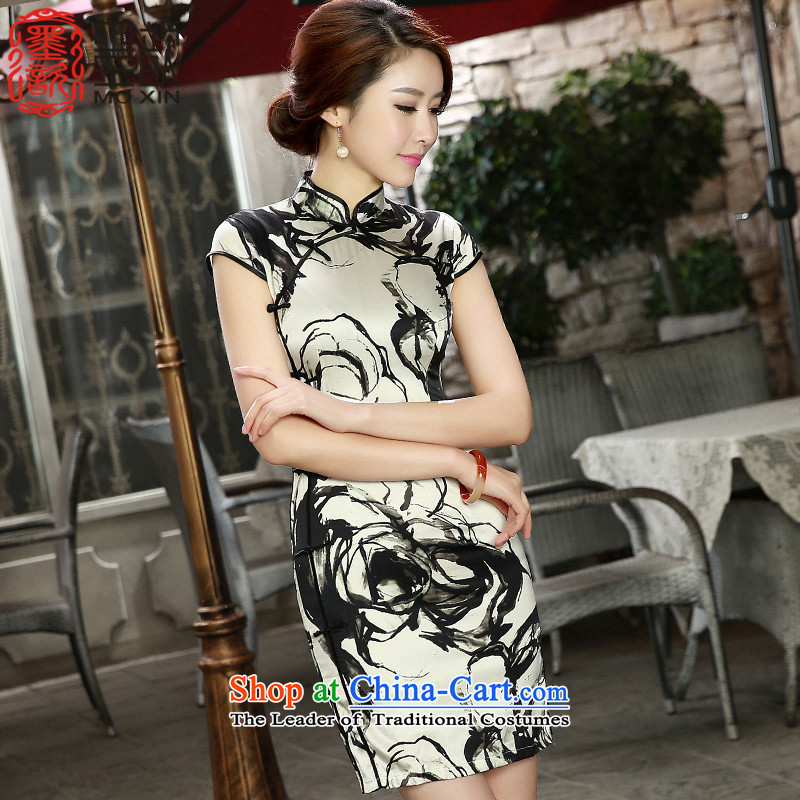 The shortage of smoke with ? Spring_Summer�15 new retro herbs extract double qipao heavyweight Silk Cheongsam燬Z S8808 Sau San M