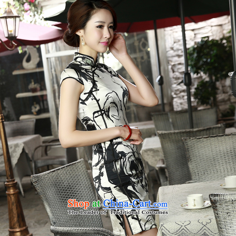 The shortage of smoke with 歆 Spring/Summer2015 new retro herbs extract double qipao heavyweight Silk CheongsamSZ S8808 Sau San M Ink 歆 MOXIN (shopping on the Internet has been pressed.)