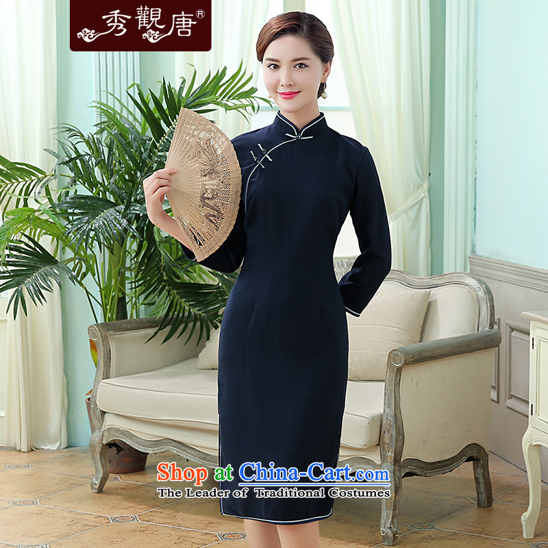 [Sau Kwun Tong] Wen Xiang 2015 Fall Classic solid color cotton linen long tri-color qipao optional Dark Blue?M
