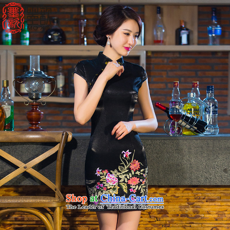 The half of�15 Autumn ? replacing cheongsam dress new cotton cheongsam embroidery retro improved qipao Sau San Chinese Dress燪D003燘lack XL