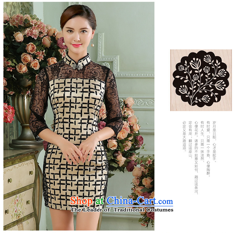 [Sau Kwun Tong] Style 2015 Autumn New Silk Cheongsam lace stitching grid qipao black and white in the Cuff聽XL Photo, prices, brand platters! The elections are supplied in the national character of distribution, so action, buy now enjoy more preferential! As soon as possible.