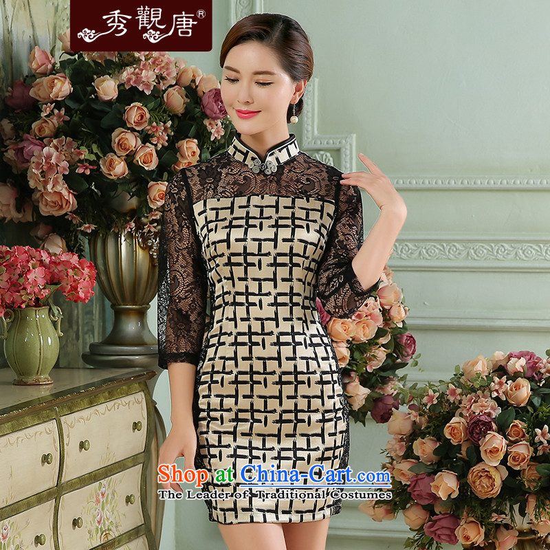 [Sau Kwun Tong] Style 2015 Autumn New Silk Cheongsam lace stitching grid qipao black and white in the Cuff?XL