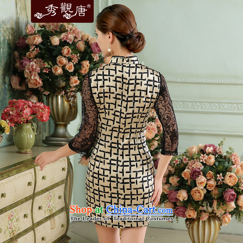 [Sau Kwun Tong] Style 2015 Autumn New Silk Cheongsam lace stitching grid qipao black and white in the Cuff聽XL, Sau Kwun Tong shopping on the Internet has been pressed.