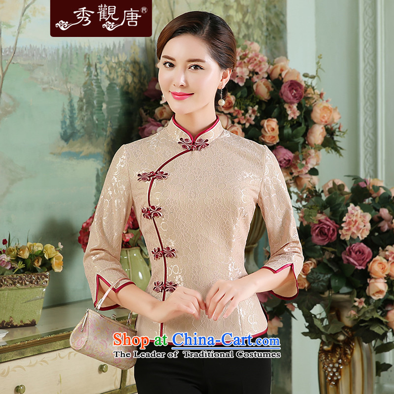 -Sau Kwun Tong- Romanche language autumn 2015 new composite lace Tang blouses, pink shirt qipao聽XXL