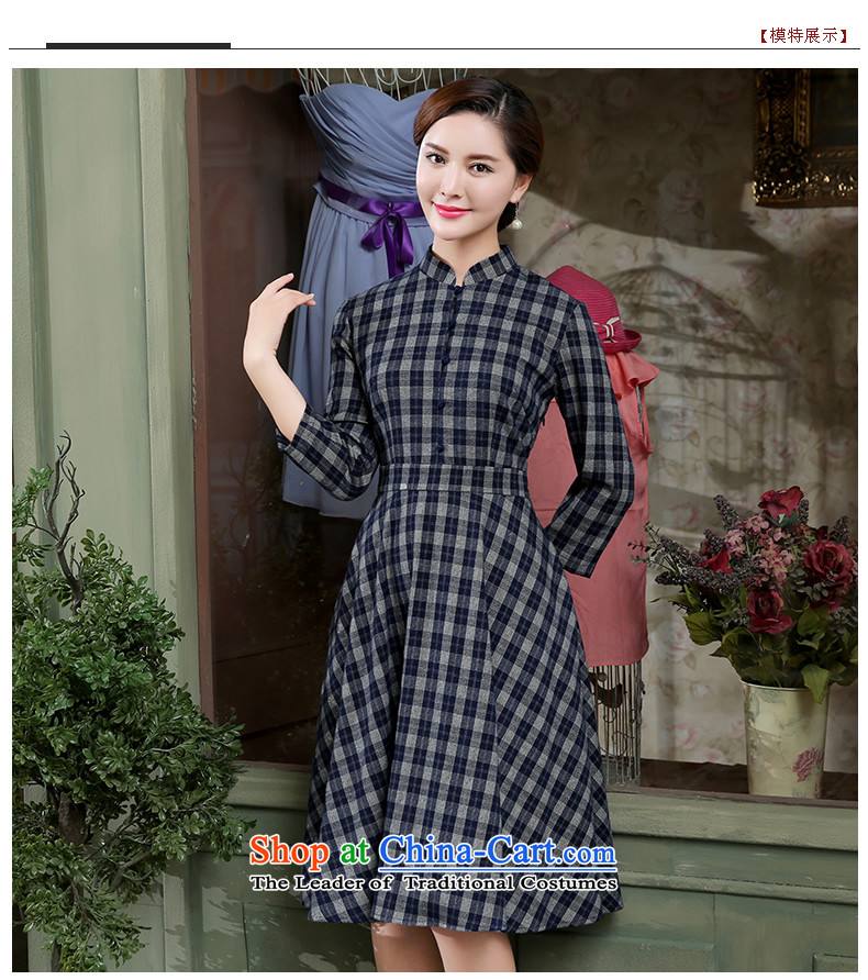 [Sau Kwun Tong] of the autumn 2015 the Republic of Korea, new grid cheongsam dress in dark blue qipao skirt聽L cuff picture, prices, brand platters! The elections are supplied in the national character of distribution, so action, buy now enjoy more preferential! As soon as possible.