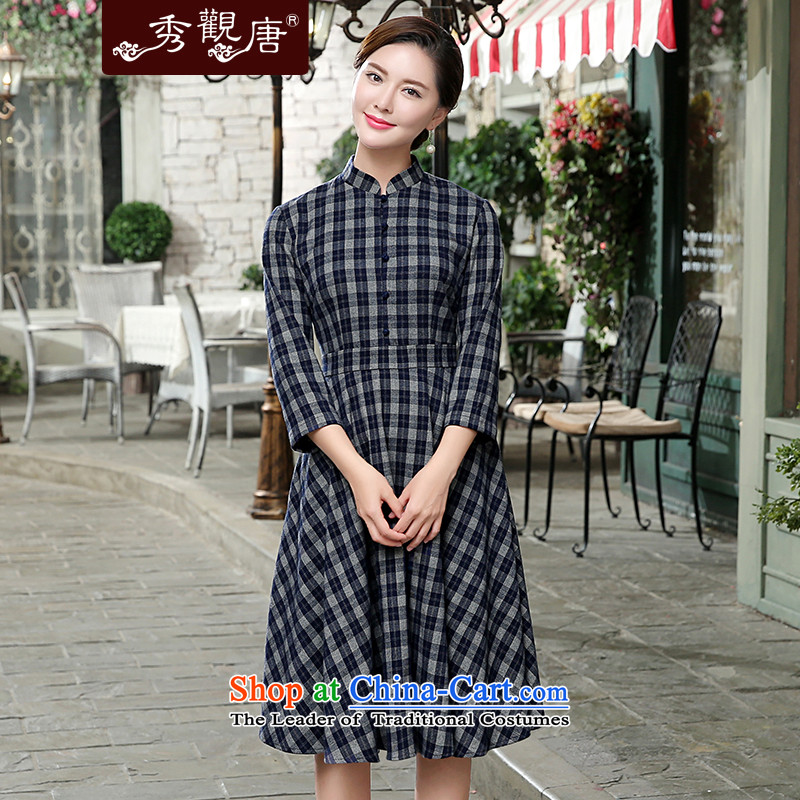 -Sau Kwun Tong- of the autumn 2015 the Republic of Korea, new grid cheongsam dress in dark blue qipao skirt燣 cuffs