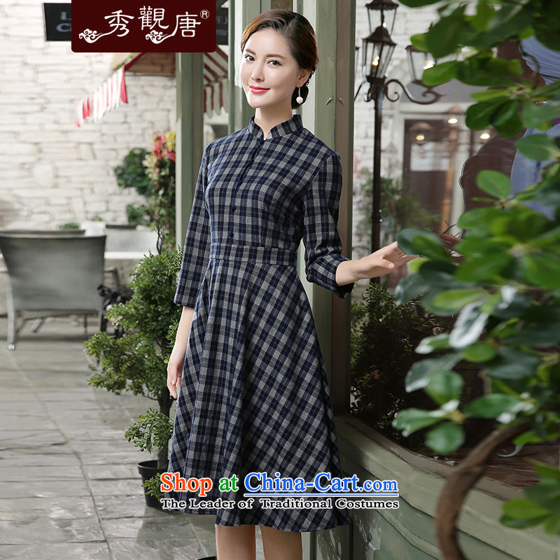 [Sau Kwun Tong] of the autumn 2015 the Republic of Korea, new grid cheongsam dress in dark blue skirt qipao聽,L,cuff Sau Kwun Tong shopping on the Internet has been pressed.