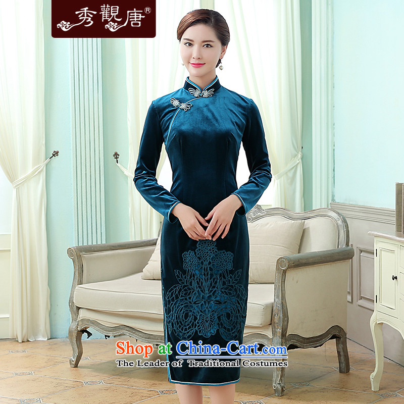 -Sau Kwun Tong- spend to load new autumn 2015 Korea scouring pads embroidered improved long-sleeved blue qipao retro聽L