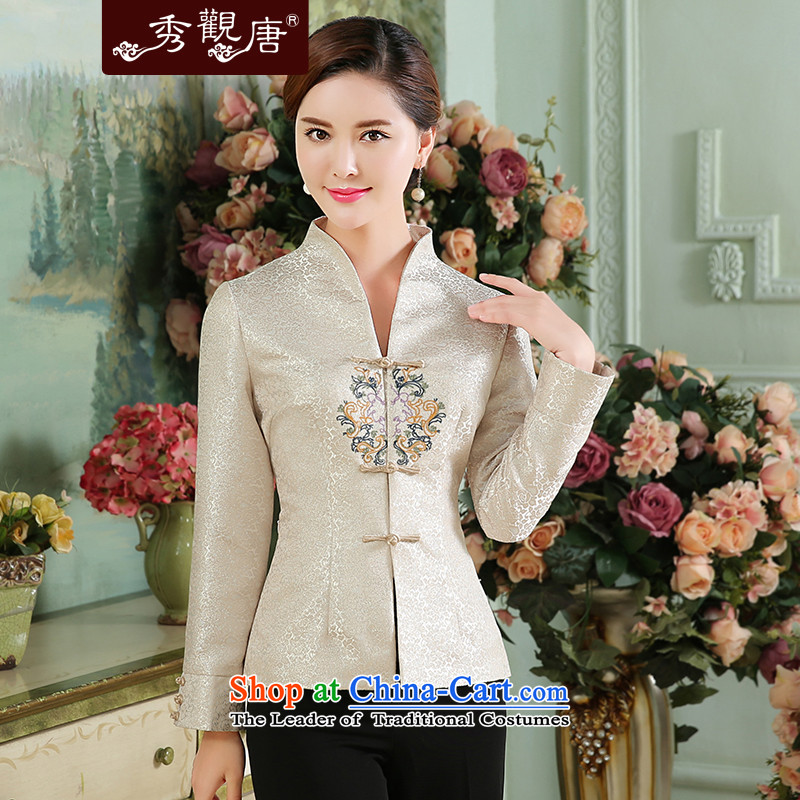 -Sau Kwun Tong- Kim seal new_ Autumn 2015 Tang blouses and sophisticated long-sleeved shirt qipao embroidery White聽XXL