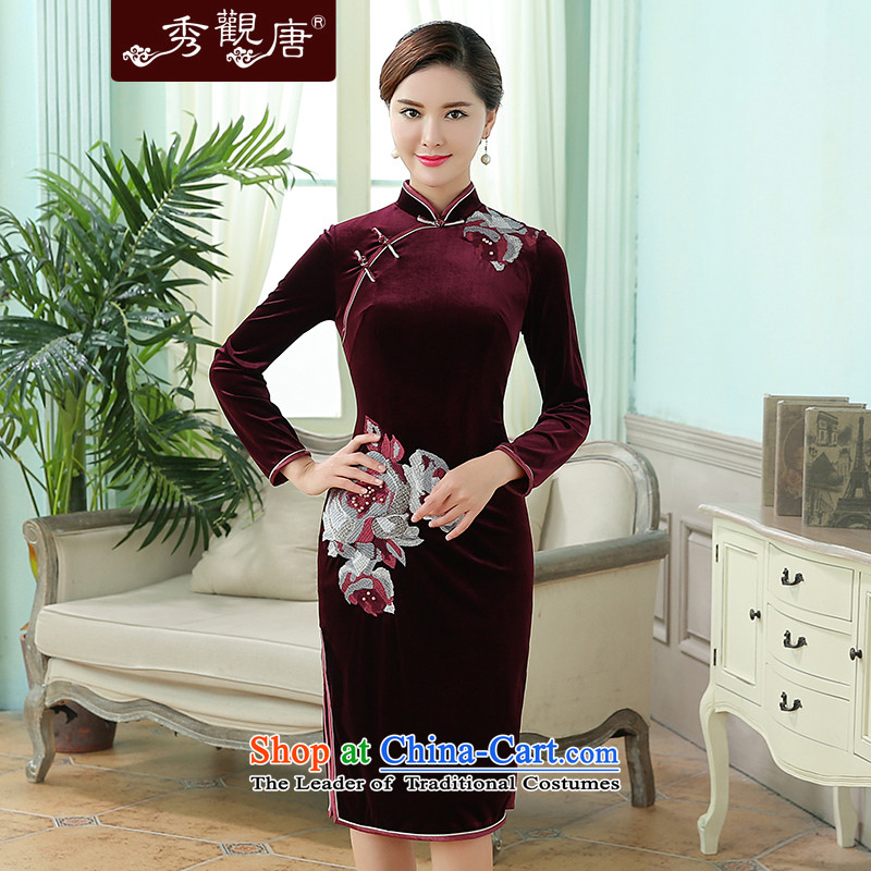 -Sau Kwun Tong- on the 2015 autumn new_ improved long-sleeved gray velour embroidery retro mother qipao wine red燣