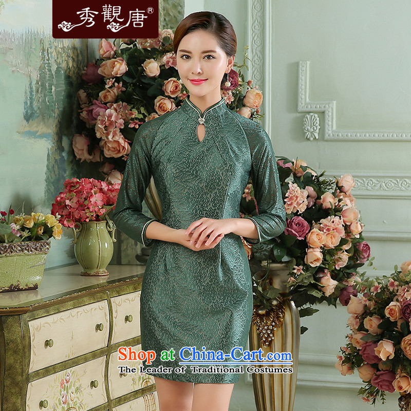 [Sau Kwun Tong] following the fall of 2015, in a new stylish cuff solid color lace stitching cheongsam dress green?XXL