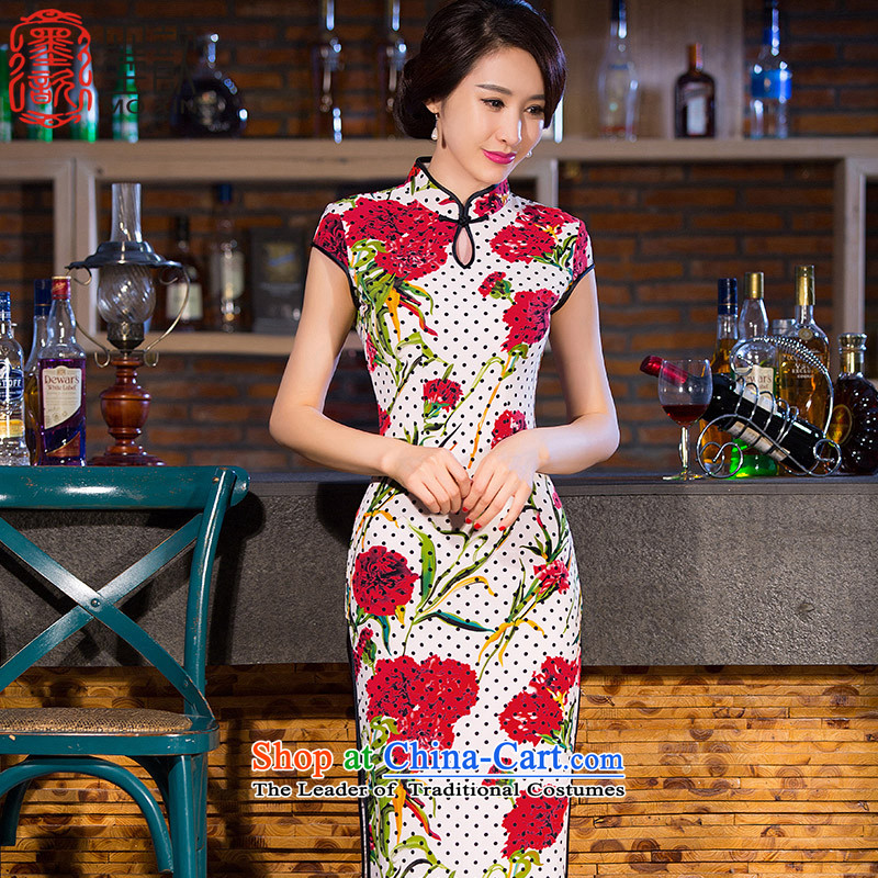 Ink ? New Xuan retro America improved cheongsam dress cheongsam dress cheongsam dress Ms. long long QD258 qipao in white L