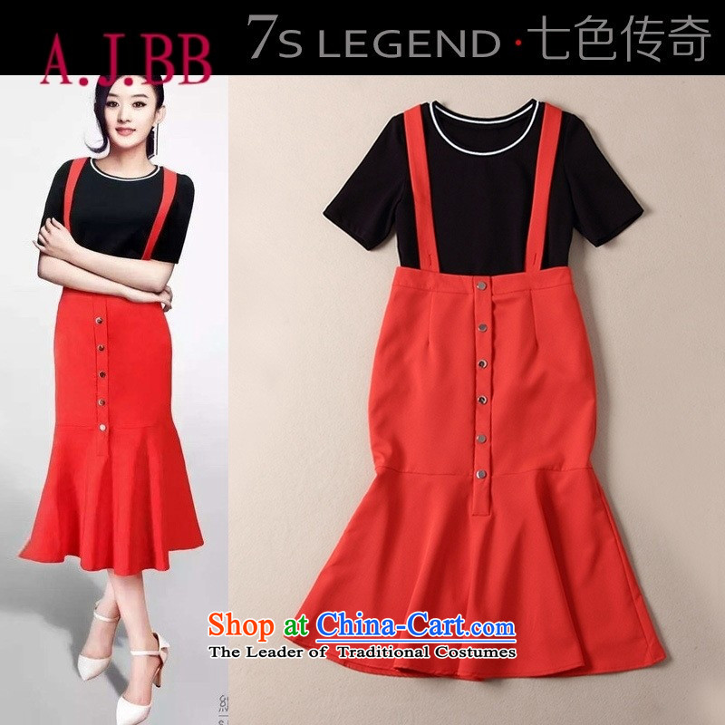 Only the 2015 autumn costumes vpro new products black T-shirt + red crowsfoot strap skirt two kits B424 Black + Red?L
