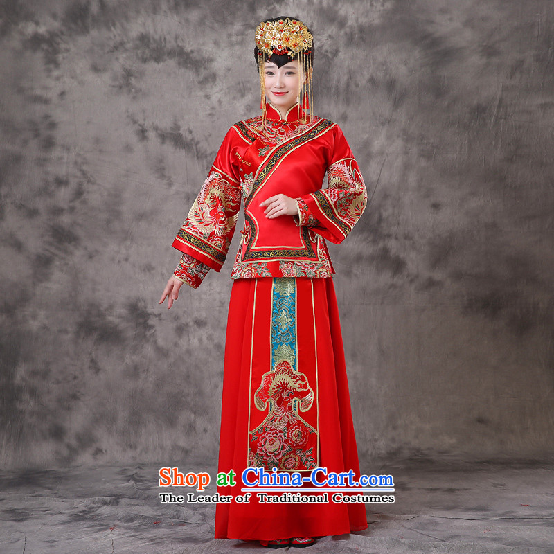 The Royal Advisory Groups to show friendly New Dragon and Phoenix Crown use retro-hsia bows to marry the bride of previous Popes are placed Yi Chinese Dress wedding costume pregnant woman can serve the southern clothes a + model Head Ornaments?XL chest 10