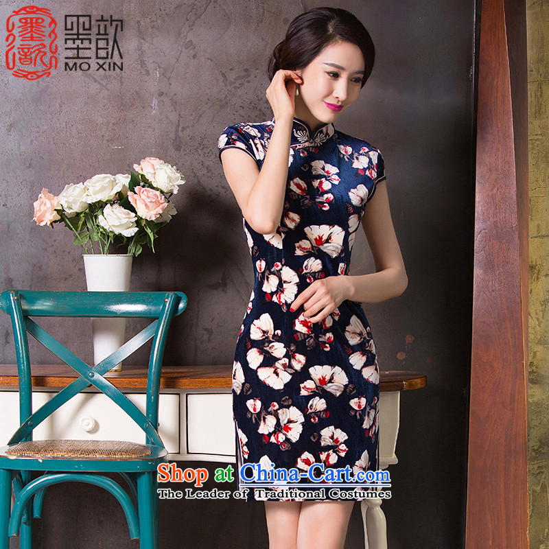 The drunken autumn 2015 Hon Audrey Eu Yuet-歆 replacing retro new skirt qipao qipao qipao Ms. scouring pads improved daily cheongsam dress QD264 DARK BLUE S