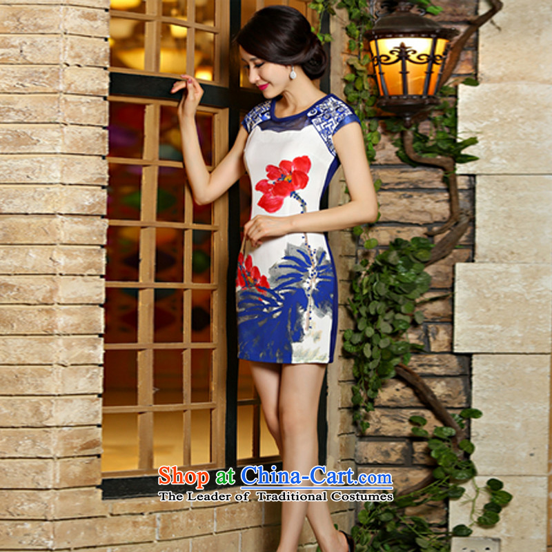 The princess of yan xia digital printing embroidery Sau San improved cheongsam dress 9012# Blue M