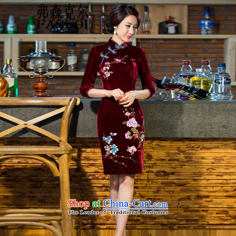 The Infusion Michael C.O.D. 2015 autumn and winter new moms with scouring pads in the skirt qipao Kim sleeve length_ Improved retro Wedding 9038 wine red聽XXL