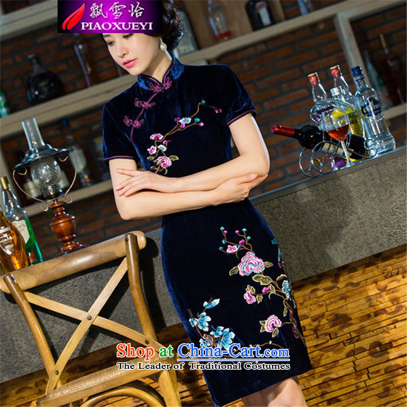 Drifting Snow Selina Chow 2015 new moms wedding Kim scouring pads retro dresses cheongsam dress improved skirt the Commission 90 Tibetan blue?L
