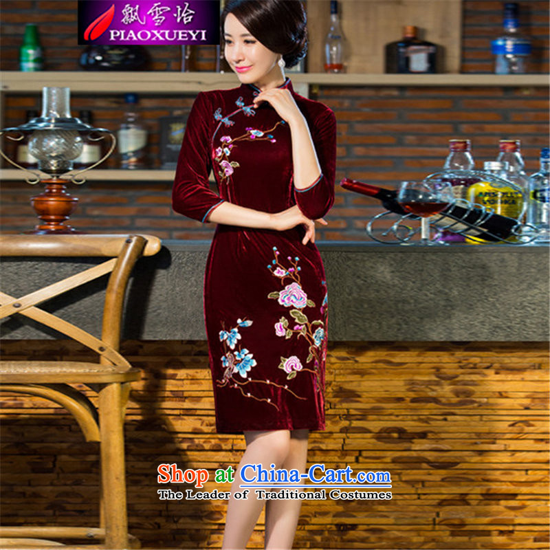 Drifting Snow Selina Chow 2015 autumn and winter new moms with scouring pads in the skirt qipao Kim sleeve length_ Improved retro Wedding 9038聽XXXL wine red