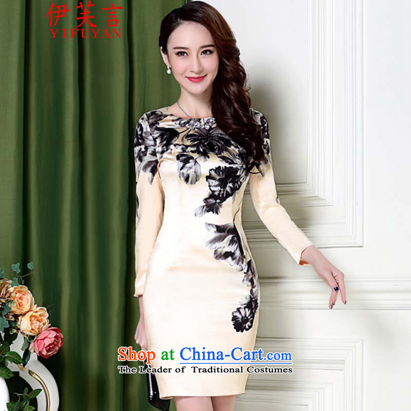 Statements were made by the autumn of 2015, the new package and elegance of nostalgia for the water ink Sau San long-sleeved qipao 5687 apricot?M