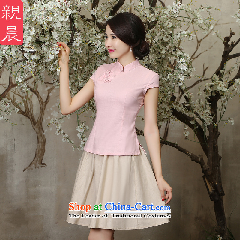 The pro-am new improved cheongsam clothes summer day-to-day, 2015, the Chinese Tang dynasty cotton linen cheongsam dress shirt single shot�L