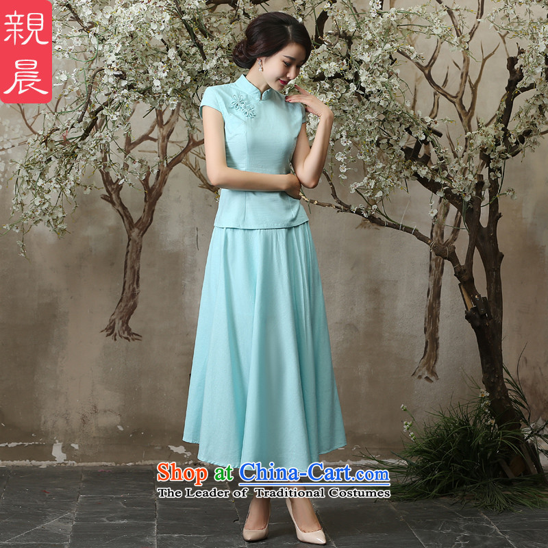 The pro-am new cotton linen clothes summer qipao 2015 Ms. daily maximum code linen improved cheongsam dress shirt + skirt燣