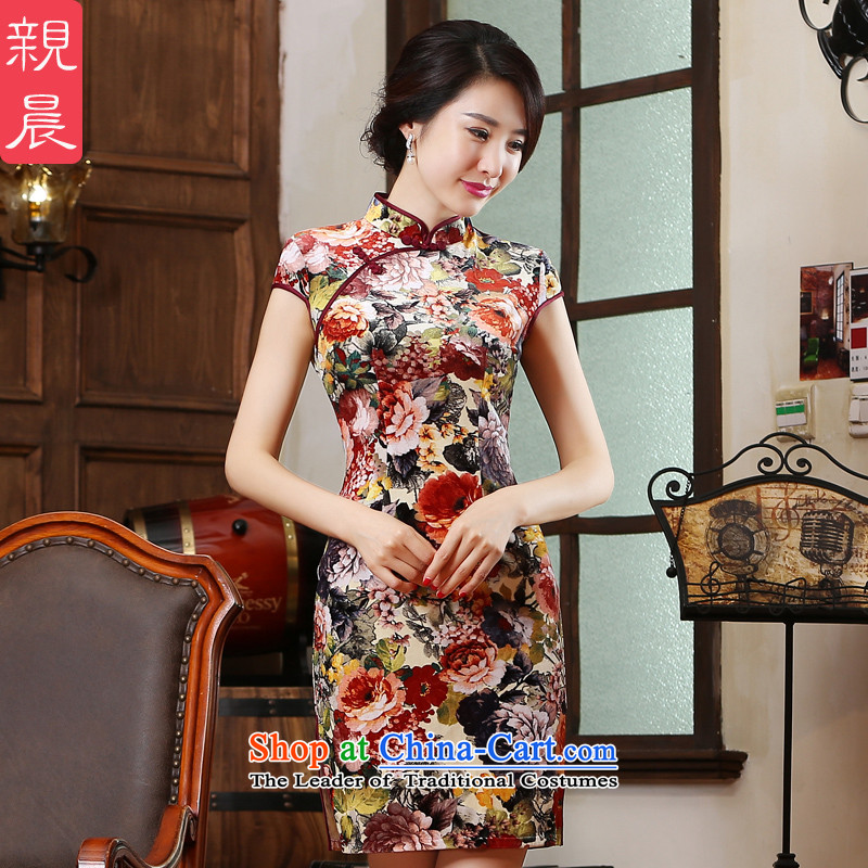 The pro-am new cheongsam dress 2015 Ms. summer daily Sau San Chinese Antique improved short of cheongsam dress suit�L