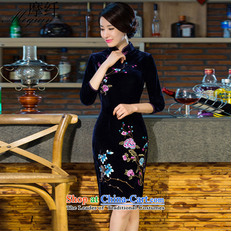 American Samoa Yugoslavia�15 autumn and winter for women in new long-sleeved improved retro wedding dress qipao Kim scouring pads M88 Blue燤