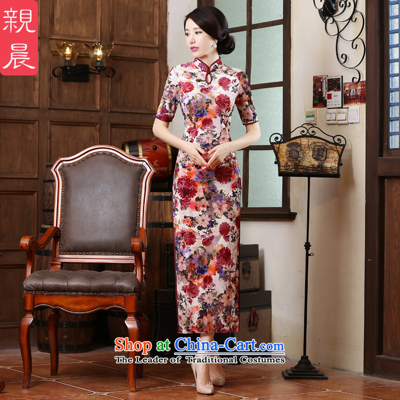 The wedding-dress mother Kim scouring pads in the loaded cheongsam dress older pro-am new long summer and autumn of 2015, the female long燤