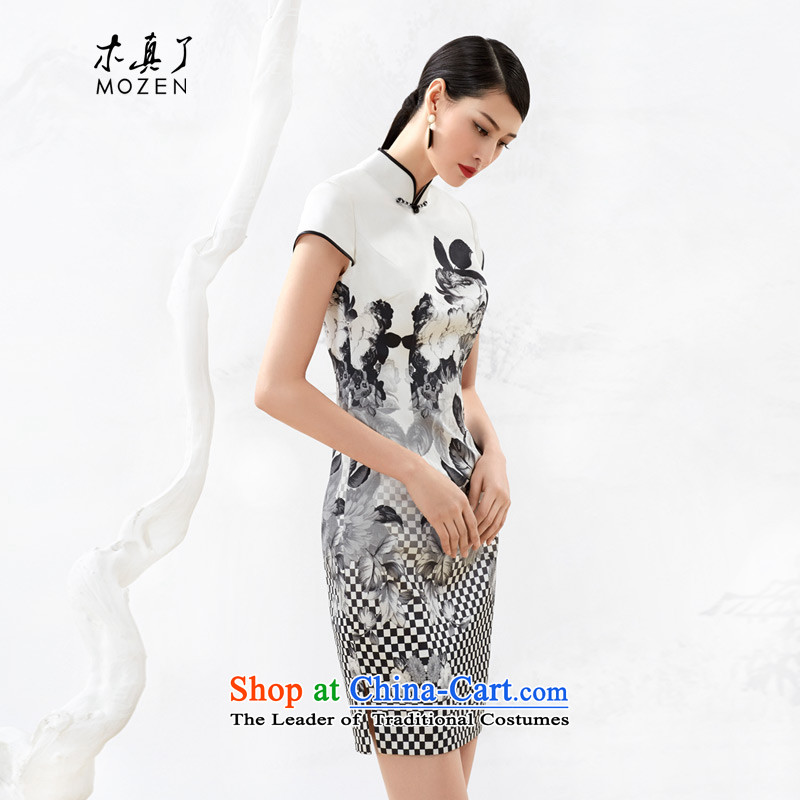The 2015 autumn wood really new products women spend improved cheongsam dress positioning 53323 02 black and white?L