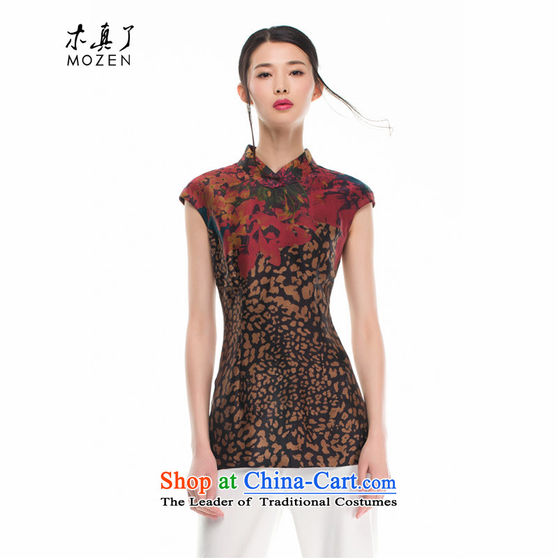 The 2015 autumn wood Really replace new women's Chinese silk shirt 32436 improved 00 tea color?XL