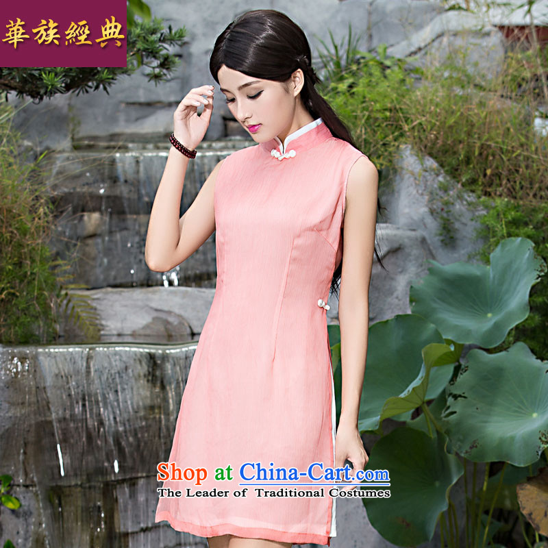 The new classic ETHNIC CHINESE CHEONGSAM 2015 Summer improved stylish dresses, Sau San retro-day qipao skirt pink燤