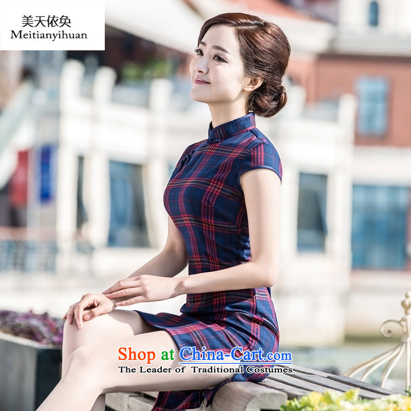 New cheongsam dress 2015 autumn and winter improved Stylish retro latticed qipao everyday dress Sau San Women's thin Graphics Figure燣