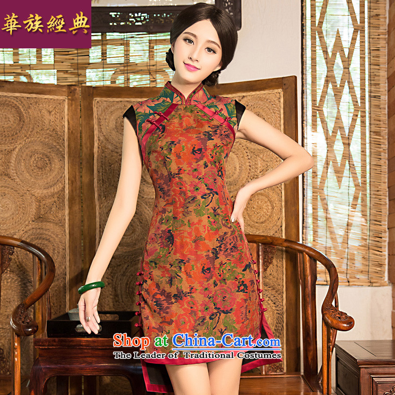 Chinese New Year 2015 classic ethnic improved stylish summer silk yarn qipao cloud of incense dresses 2 open ends cheongsam dress suit聽XXL