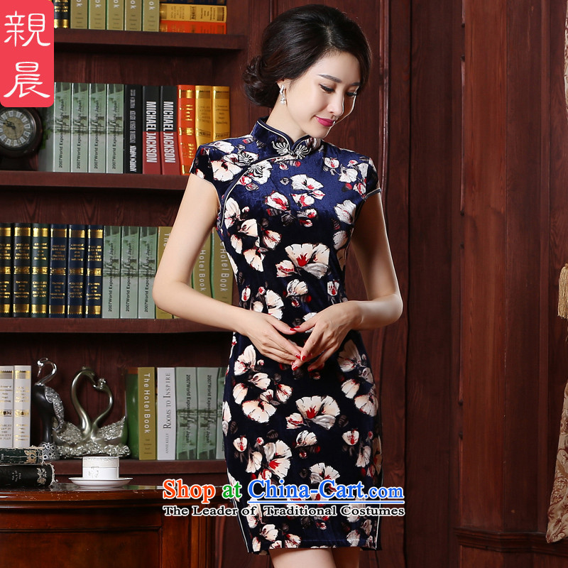 The pro-am scouring pads qipao skirt 2015 new summer daily retro fitted improved qipao mother short skirt women, short,?2XL