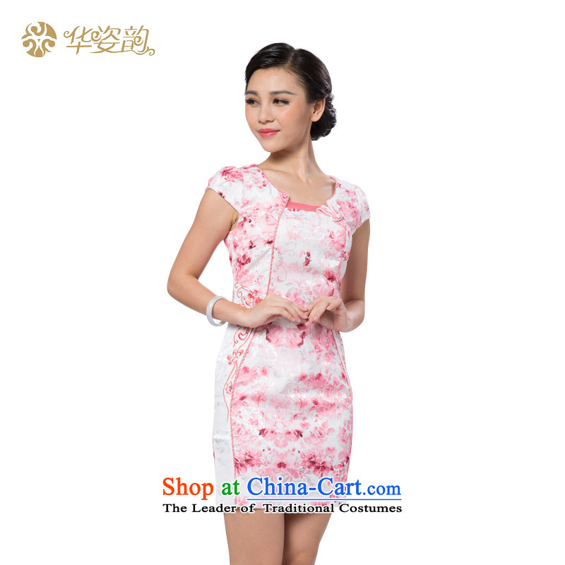 China following the new 2015 Gigi Lai qipao summer daily improved cheongsam dress suit Chinese ink painting cheongsam dress pink燤